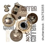 hand drawn doodle coffee... | Shutterstock .eps vector #526752055