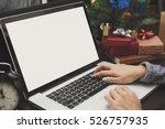 business woman hand typing... | Shutterstock . vector #526757935