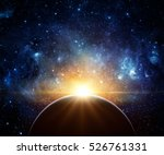Small photo of Earth, galaxy and sun. Elements of this image furnished by NASA.