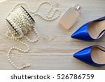purple shoes  perfume and beads ... | Shutterstock . vector #526786759