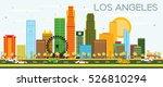 Los Angeles Skyline With Color...