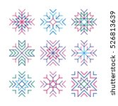 set of snowflakes with effect... | Shutterstock .eps vector #526813639