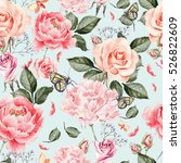 watercolor pattern with peony... | Shutterstock . vector #526822609