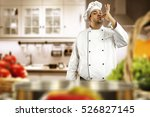 cook chef in kitchen with white ...   Shutterstock . vector #526827145