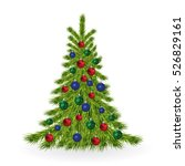 christmas tree with colorful... | Shutterstock . vector #526829161
