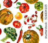 pattern watercolor pumpkin | Shutterstock . vector #526834105