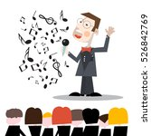 singer with notes and audience...   Shutterstock .eps vector #526842769