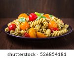 fusilli pasta salad with pesto... | Shutterstock . vector #526854181