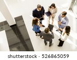 overhead view of people having... | Shutterstock . vector #526865059