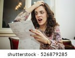 woman shocked and surprised... | Shutterstock . vector #526879285