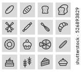 vector line bakery icons set on ... | Shutterstock .eps vector #526893829