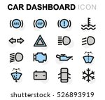 vector flat car dashboard icons ... | Shutterstock .eps vector #526893919