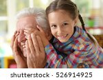 grandfather and granddaughter... | Shutterstock . vector #526914925