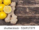 lemon and ginger on wood