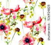 Stock photo summer seamless pattern with stylized flowers watercolor illustration 526924825
