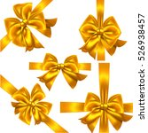 set of yellow or gold gift bows.... | Shutterstock .eps vector #526938457