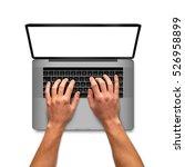 man hands working on laptop... | Shutterstock . vector #526958899