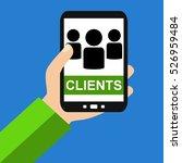 hand holding smartphone ... | Shutterstock . vector #526959484