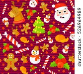 seamless pattern with cute... | Shutterstock .eps vector #526964989