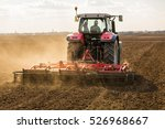 farmer in tractor preparing... | Shutterstock . vector #526968667