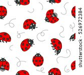 red ladybugs and lines cartoon... | Shutterstock .eps vector #526972384
