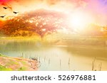 beautiful blazing sunset... | Shutterstock . vector #526976881