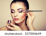 makeup artist applies eye... | Shutterstock . vector #527004649