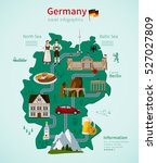 germany travel flat map... | Shutterstock .eps vector #527027809