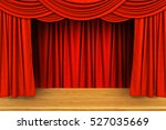 red curtains and wooden stage...   Shutterstock . vector #527035669