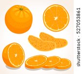 set of vector orange. whole ... | Shutterstock .eps vector #527053861