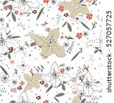 seamless flower pattern. vector ... | Shutterstock .eps vector #527057725