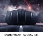 five tires rolling on a street | Shutterstock . vector #527057731