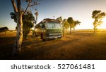 vintage bus on  farm with... | Shutterstock . vector #527061481