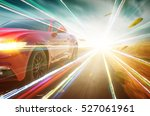 red race car with light effect.  | Shutterstock . vector #527061961