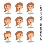 set of emoji character. cartoon ... | Shutterstock .eps vector #527084254