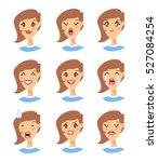 set of emoji character. cartoon ... | Shutterstock .eps vector #527084254