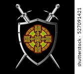 celtic cross on the shield with ... | Shutterstock .eps vector #527091421