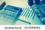 double exposure of city and pen ... | Shutterstock . vector #527098981