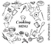 kitchen objects cooking menu   Shutterstock .eps vector #527120014