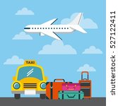 taxi and airplane with... | Shutterstock .eps vector #527122411