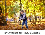 autumn leaves whirl around a... | Shutterstock . vector #527128051