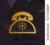 retro telephone sign. golden...