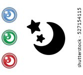web line icon. moon and stars | Shutterstock .eps vector #527154115