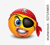 cute pirate smiley wearing red... | Shutterstock .eps vector #527154805