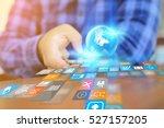 hand touch screen smart phone....   Shutterstock . vector #527157205