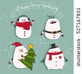 snowman's christmas day sticker ... | Shutterstock .eps vector #527167831