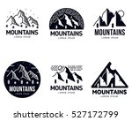 Set of mountains and outdoor adventures logo templates, vector illustration isolated on white background. Set of abstract black and white tourism, hiking, camping, mountain and travel logotype design | Shutterstock vector #527172799