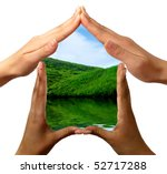 Conceptual symbol home made by black and white people hands framing the nature scenery isolated on white background - stock photo