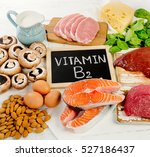 foods highest in vitamin b2 ... | Shutterstock . vector #527186437