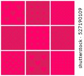 set of seamless bright pink... | Shutterstock .eps vector #527190109